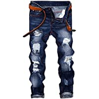 WEEN CHARM Mens Distressed Ripped Biker Slim Fit Jeans Moto Retro Denim Pants