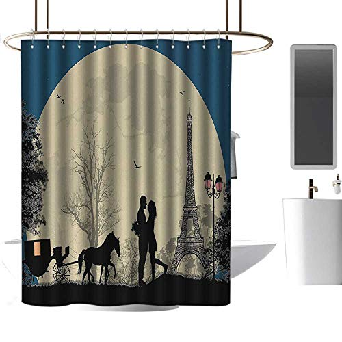 (Shower Curtains sea Theme Romantic,Lovers in The Paris The Romance Capital of The World with a Giant Moon,Night Blue Beige Black,W72 x L96,Shower Curtain for Girls)