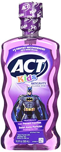 - ACT Kids Anticavity Fluoride Rinse, Batman Fruit Punch, 16.9 Bottle (2-Pack)