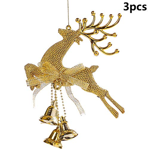 Vpang 3 Pcs Glitter Christmas Elk Bell Ornament Christmas Tree Hanging Ornaments Pendants for Christmas, New Year, Birthday, Wedding, Holiday Party Decoration (Gold) - Bell Ornament Gold