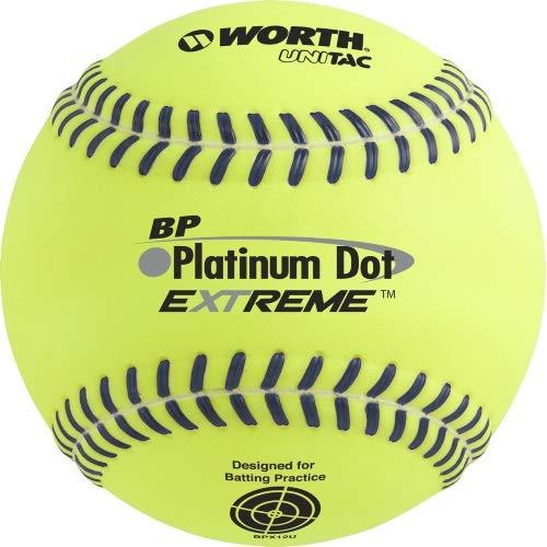 "Worth 12"" BP Platinum Dot Extreme Batting Practice Softballs, Box of 12"