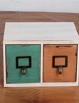 whh/hacer la vieja caja de madera con 2 cajones Home Furnishing Fashion Craft joyería almacenamiento: Amazon.es: Hogar