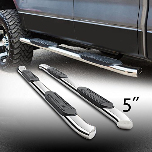 """5"""" Oval Stainless Steel Side Step Rails Nerf Bar Running Boards With Bent Ends Fit 2004-2008 Ford F150 2006-2008 Lincoln Mark LT Supercrew/Crew Cab With 4 Full Size Doors Only"""