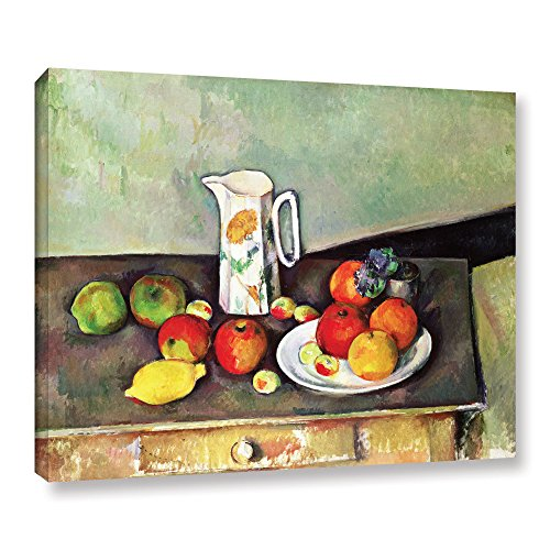 ArtWall 'Still Life with Milk Jug and Fruit' Gallery-Wrapped Canvas Artwork by Paul Cezanne, 18 by 24-Inch