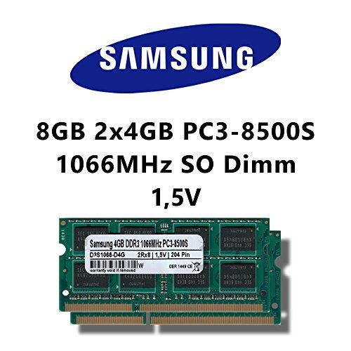 Samsung 8GB (2x 4GB) Dual-Channel Kit DDR3 1066MHz (PC3 8500S) SO Dimm Notebook Laptop Arbeitsspeicher RAM Memory