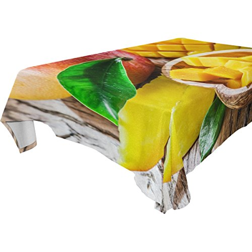 Double Joy Modern Rectangle Square Tablecloth 54x72 Inches Fruit Mango Cover for Dinners Parties Banquet or Picnic