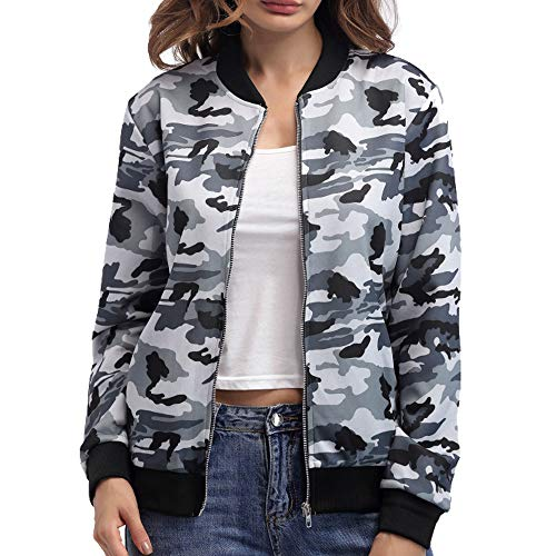 BOMBAX Women's Baseball Bomber Jacket Fall Flower Stripe Casual Short Outwear Coat Camo White