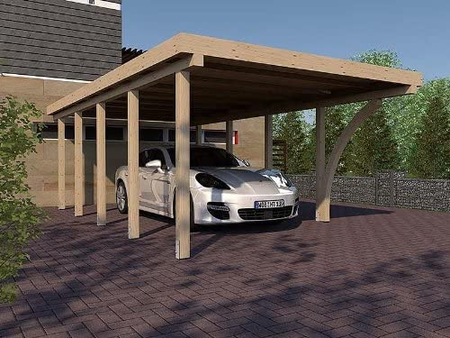 CarPort San Marino IV Madera Laminada 400 x 800 cm, con 1 Cola arco tejado plano CarPort: Amazon.es: Jardín