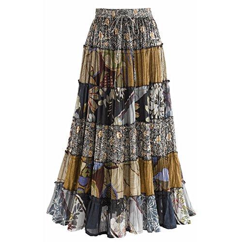 Women's Jungle Print Long Broom Maxi Skirt - (Psychedelic Maxi Dress)
