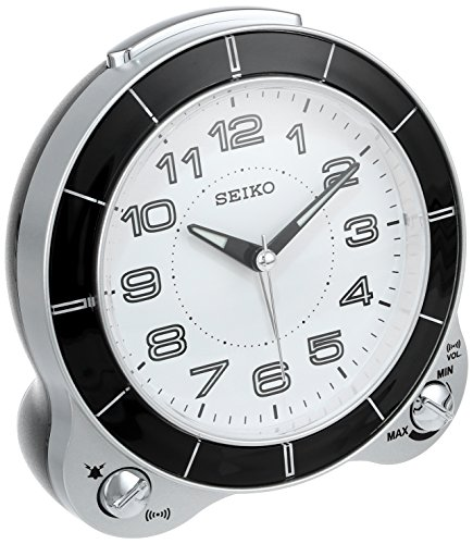 Platinum Clock - Seiko QHK031SLH Bedside Alarm Japanese Quartz Alarm Clock