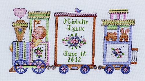 Bucilla Counted Cross Stitch Birth Record Kit, 12.75 by 6.25-Inch, 45708 Choo Choo Train