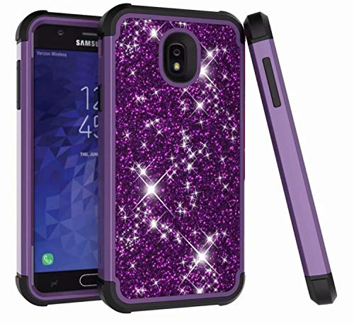 (DAMONDY Galaxy J7 Refine/J7 2018/J7 Star/J7 Top Case,Bling Glitter 3 in 1 Drop Protection Shock Absorption Non Slip Hybrid Dual Layer Armor Defender Protective Full Body Case Cover-Purple-Black)