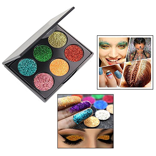 OFKP 6 Colors Highly Pigmented, Waterproof & Long-Lasting Palette Flash Eye Shadow Tray Mineral Make-up Glitter