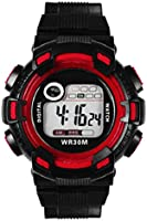 Mens Sports Waterproof Digital Multifuctional Date Alarm Mountaineer Wrist Watch -Red