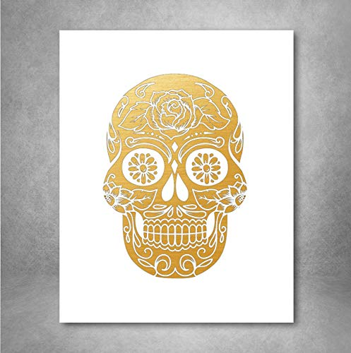 Gold Foil Art Print - Sugar Skull With Flowers Gold Foil Design 8x10 inches
