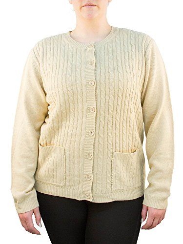 Knit Minded Long Sleeve Two Pocket Cable Knit Cardigan Sweater Taupe - Two Pockets Knit