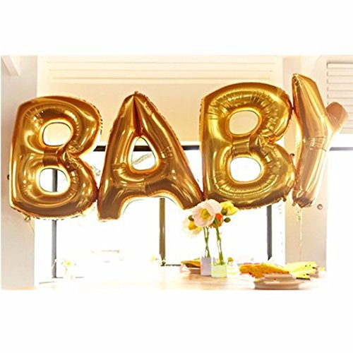 B-G BABY (45 INCH) Extra Large Balloon Set, Cute Gold Alphabet Letters foil Balloons Happy Birthday Party Decoration Supplies (Golden) BA10