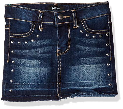 DKNY Girls' Big Hem and Release Denim Skirt, Midnight Blue, 12