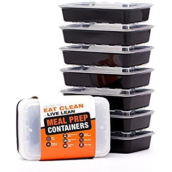 LIFT Certified BPA-Free Reusable Microwavable Meal Prep Containers with Lids, 28-Ounce, 7 Pack