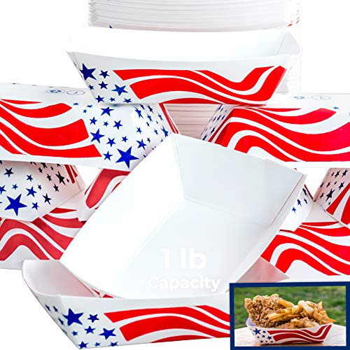 Heavy Duty, Grease Resistant 1 Lb US Flag Paper Food Tray 100 Pack. Recyclable, Coated Paperboard Basket for Carnivals, Concession Stands and Fairs. Serve Hot Dogs, Popcorn and Nachos. Made In The USA]()