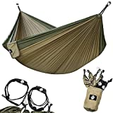 Legit Camping Double Hammock - Lightweight Parachute Portable Hammocks for Hiking, Travel, Backpacking, Beach, Yard Gear Includes Nylon Straps & Steel Carabiners