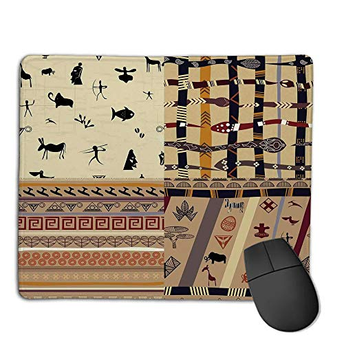 (Mouse Pad Custom,Mouse Pad Non-Slip Thick Rubber Large MousepadPrimitive,Hunting Animals in Wilderness Elephant Zebra Fish Snake Tribal Mask Patterns,Black Beige,Suitable for Any Mouse Type, Home, o)