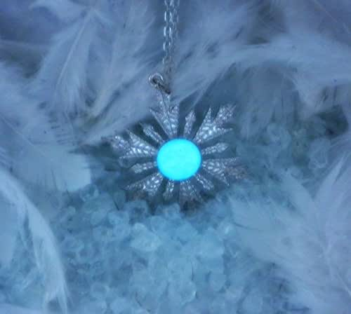 Snowflake Glow in the Dark Necklace - Ice Queen Jewelry - Fairy Tale Inspired Necklace