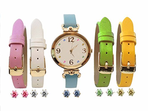 Womens Interchangeable Watch Set Faux MOP Dial Watch Set Crystal Markers 16 Pieces (White (Leather White Mop Dial)