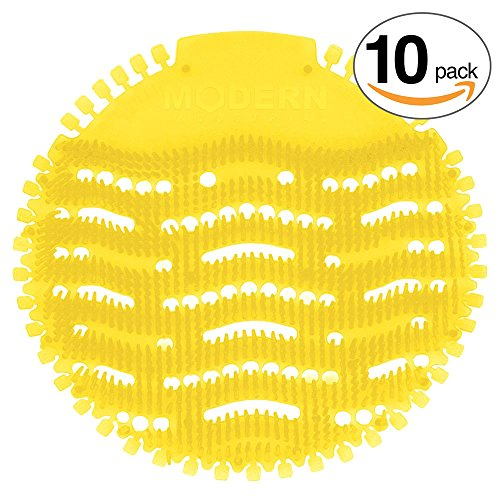 Urinal Screen & Deodorizer (10-pack) by Modern Industrial - Fits Most Top Urinal Brands at Restaurants, Offices, Schools, etc. (Yellow Lemon)