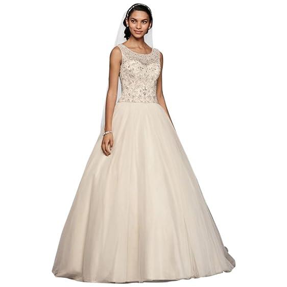 David\'s Bridal Extra Length Oleg Cassini Illusion Tank Ball Gown ...