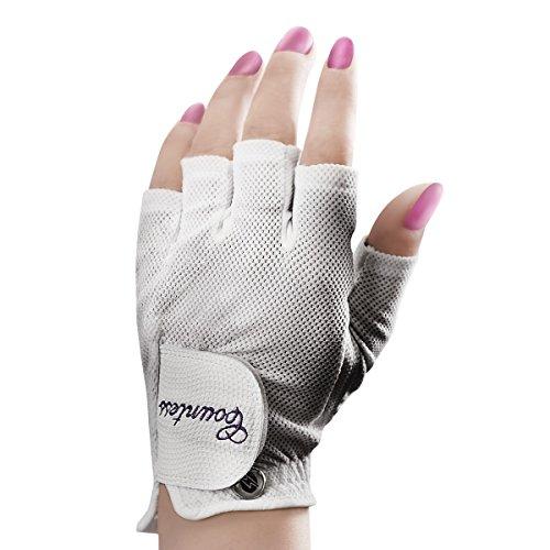 Powerbilt Countess Half-Finger Golf Glove - Ladies LH Medium, White(Medium, Worn on Left Hand)