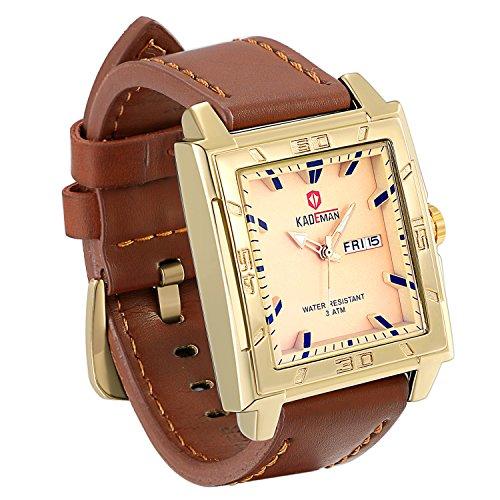 JewelryWe Men Square Big Wrist Watch Japan Quartz Analog Leather Business Dress Watches