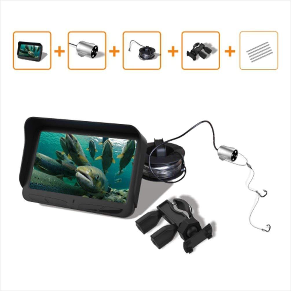 Oyamihin Video Fish Finder 4,3 Zoll HD-Monitor 6 Infrarot LED Wasserdichte Unterwasserkamera Nachtsicht für Outdoor Angelausrüstung - schwarz
