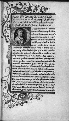 Photo: Marcus Tullus Cicero,bust on page of Latin text,Cicero,De Officii,Manz,1465