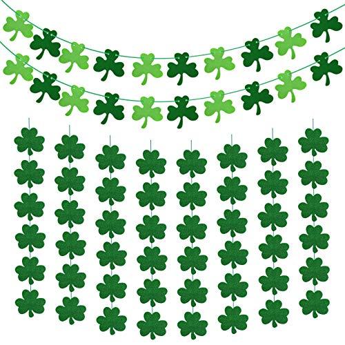 WXJ13 28 PCS St Patrick's Day Decor Set Shamrock Glitter Foil Hanging Ornaments and Felt Clover Garland Banner for St. Patrick's Day Party Decorations Irish Day Party Supplies (Patricks Day Garland)