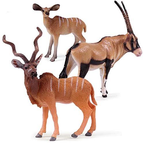 Kolobok - Safari Animals Action Figures - Wild Antelopes - Zoo Animals Educational Toys - 3 pcs Playset