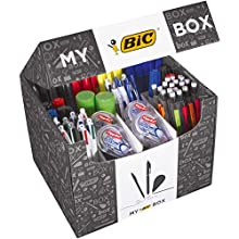 My BIC Box Caja de 124 productos de escritura – 75 bolígrafos, 24 portaminas, 8 cintas correctoras, 7 rotuladores, 8 rotuladores y 2 barras de pegamento blanco (21 g)