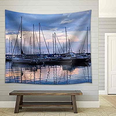 With a Professional Touch, Charming Craft, Docked Sailboats in Marina at Sunset Fabric Wall
