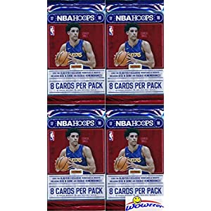 2017/18 Panini Hoops NBA Basketball Collection of FOUR(4) Factory Sealed Packs with 32 Cards! Loaded with ROOKIES & INSERTS! Look for RC's & Autographs of Lonzo Ball, Jayson Tatum & Many More! WOWZZER