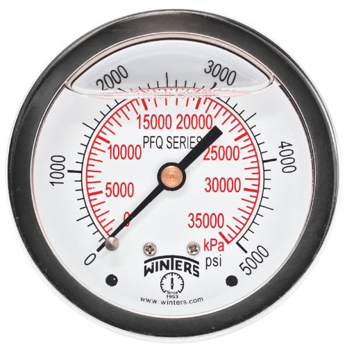 Winters PFQ Series Stainless Steel 304 Dual Scale Liquid Filled Pressure Gauge with Brass Internals, 0-5000 psi/kpa,2-1/2