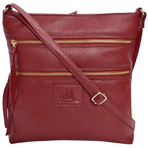 Leather Crossbody Purses and Handbags for Women-Premium Crossover Bag Over the Shoulder Womens (Red Pebble)