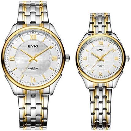 バレンタインのロマンチックな腕時計、2つのシンプルなクリスタルローマ数字の時計のセット、彼と彼女の水晶アナログ鋼の腕時計は恋人のためのギフトを腕時計 (色 : ゴールド)