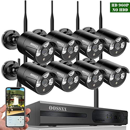 【2018 update】 OOSSXX 8-Channel HD 1080P Wireless Network/IP Security Camera System(IP Wireless WIFI NVR Kits),8Pcs 960P 1.3 Megapixel Wireless Indoor/Outdoor IR Bullet IP Cameras,P2P,App,No - Network Home Digital