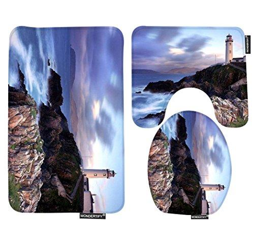 Lighthouses Bath (Wondertify Bath Mat,Beach Lighthouse Of The Beach Bathroom Carpet Rug,Non-Slip 3 Piece Bathroom Mat Set)