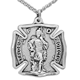 Sterling Silver 1-1/8 Inch Firefighter Shield St. Florian Medal on 24 Inch Stainless Steel Chain