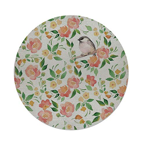 Cotton Linen Round Tablecloth,Floral,Flower Petals Blossoms Leaves and Bird Sitting Vintage Elegance Image,Coral Fern Green White,Dining Room Kitchen Table Cloth Cover ()