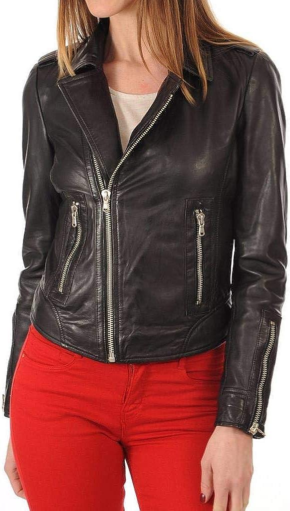 Womens Stylish Lambskin Genuine Leather Jacket WJ254
