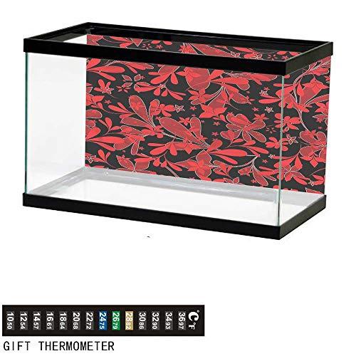 (Suchashome Fish Tank Backdrop Red and Black,Oceanic Island Flower,Aquarium Background,24