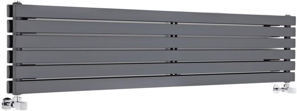 Hudson Reed Sloane Radiador de Diseño Moderno Horizontal - Radiador con Acabado Antracita - Diseño de Columna Plana - 1308W - 354 x 1600mm