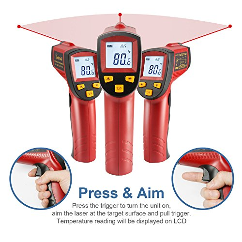 AstroAI Digital Laser Infrared Thermometer, 550 Non-contact Temperature Gun with Range of -58℉~1022℉ (-50℃~550℃), Red by AstroAI (Image #3)